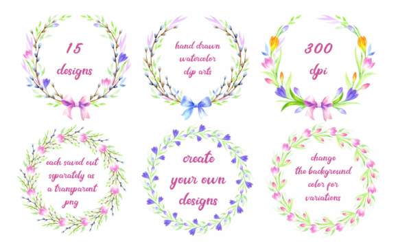 Easter Wreaths. Watercolor Clip Arts Graphic By Olga Belova Image 3