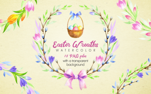 Print on Demand: Easter Wreaths. Watercolor Clip Arts Graphic Illustrations By Olga Belova