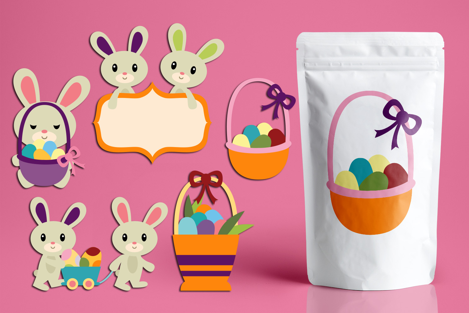 Download Free Easter Basket And Bunny Graphic By Revidevi Creative Fabrica for Cricut Explore, Silhouette and other cutting machines.