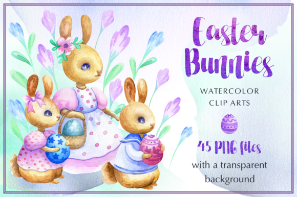 Download Free Easter Bunnies Watercolor Set Graphic By Olga Belova Creative for Cricut Explore, Silhouette and other cutting machines.