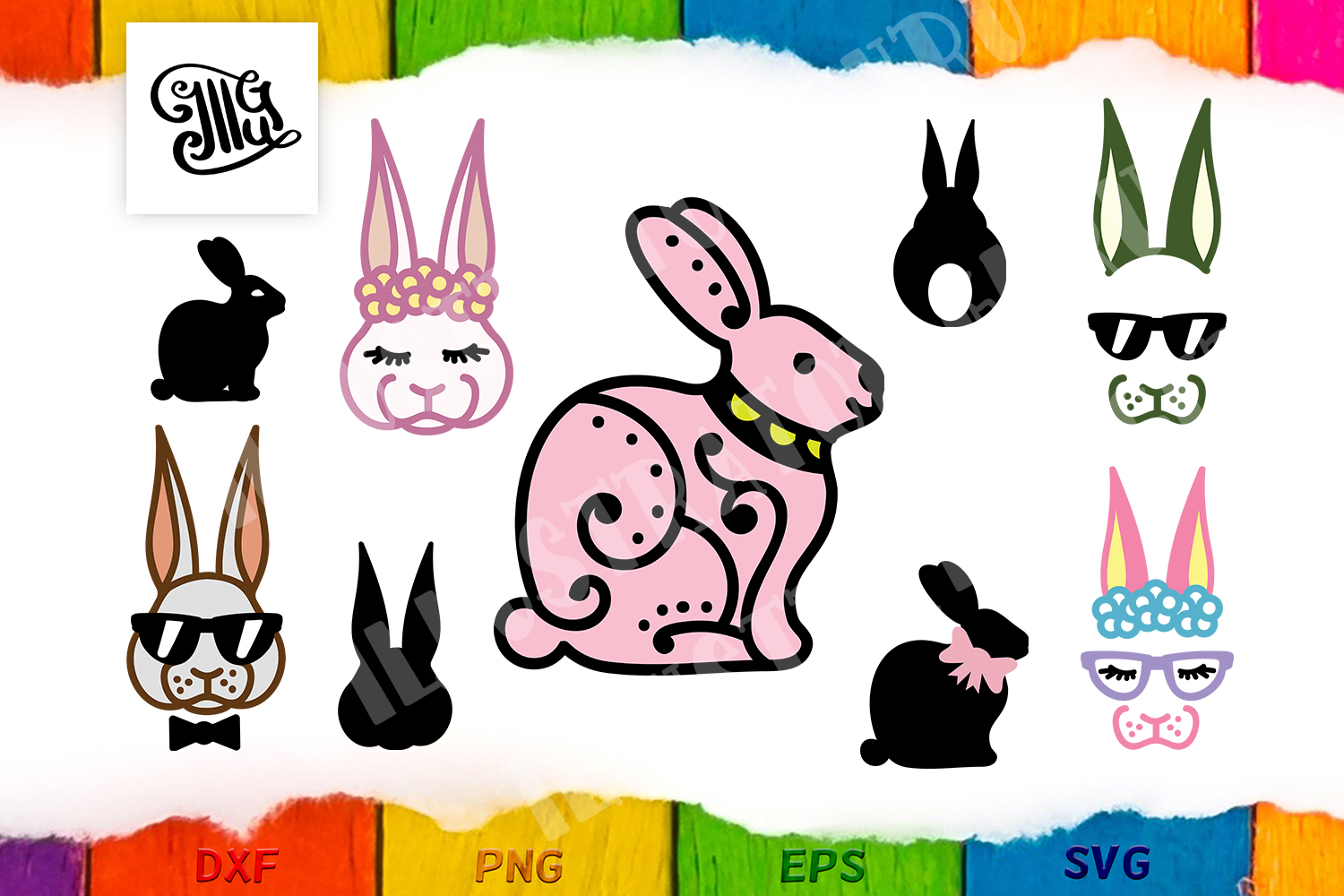 Download Free Easter Bunny Bundle Graphic By Illustrator Guru Creative Fabrica for Cricut Explore, Silhouette and other cutting machines.