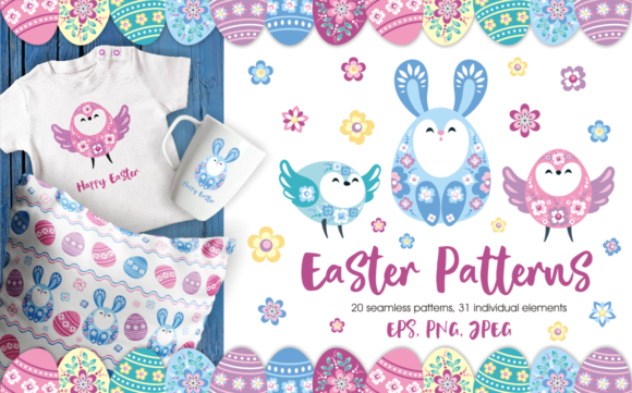 Print on Demand: Easter Patterns and Clip Arts Graphic Illustrations By Olga Belova - Image 1