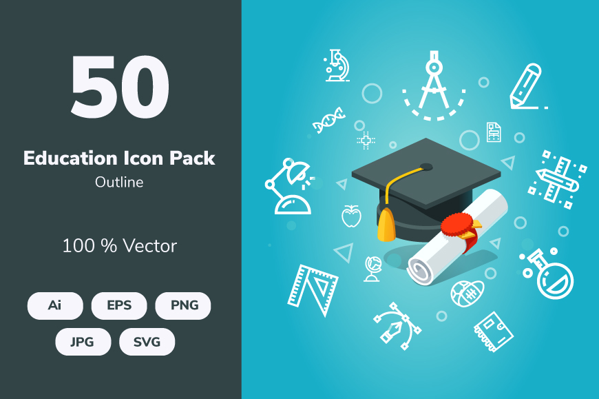 Download Free Education Outline Graphic By Icon Stale Creative Fabrica for Cricut Explore, Silhouette and other cutting machines.