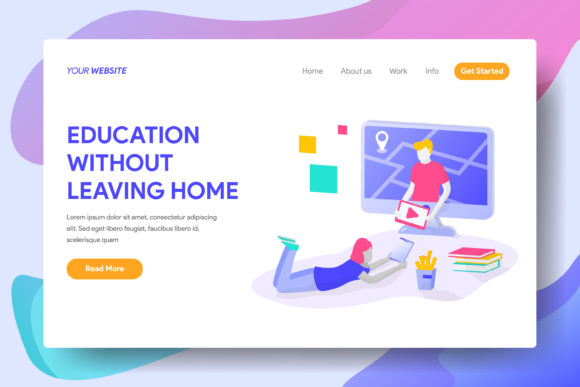 Education Without Leaving Home Graphic Landing Page Templates By Twiri