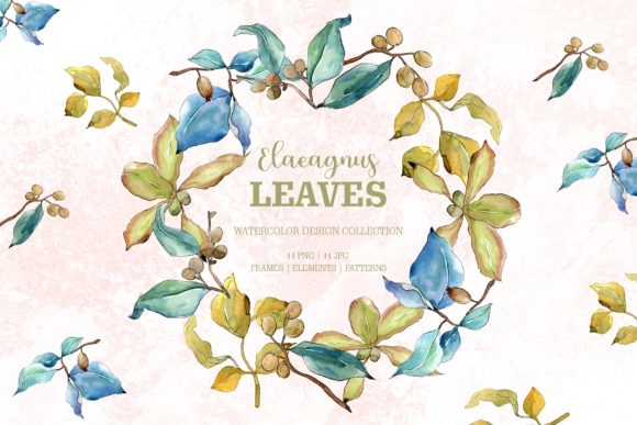 Elaeagnus Leaves Watercolor Png Graphic By MyStocks Image 1