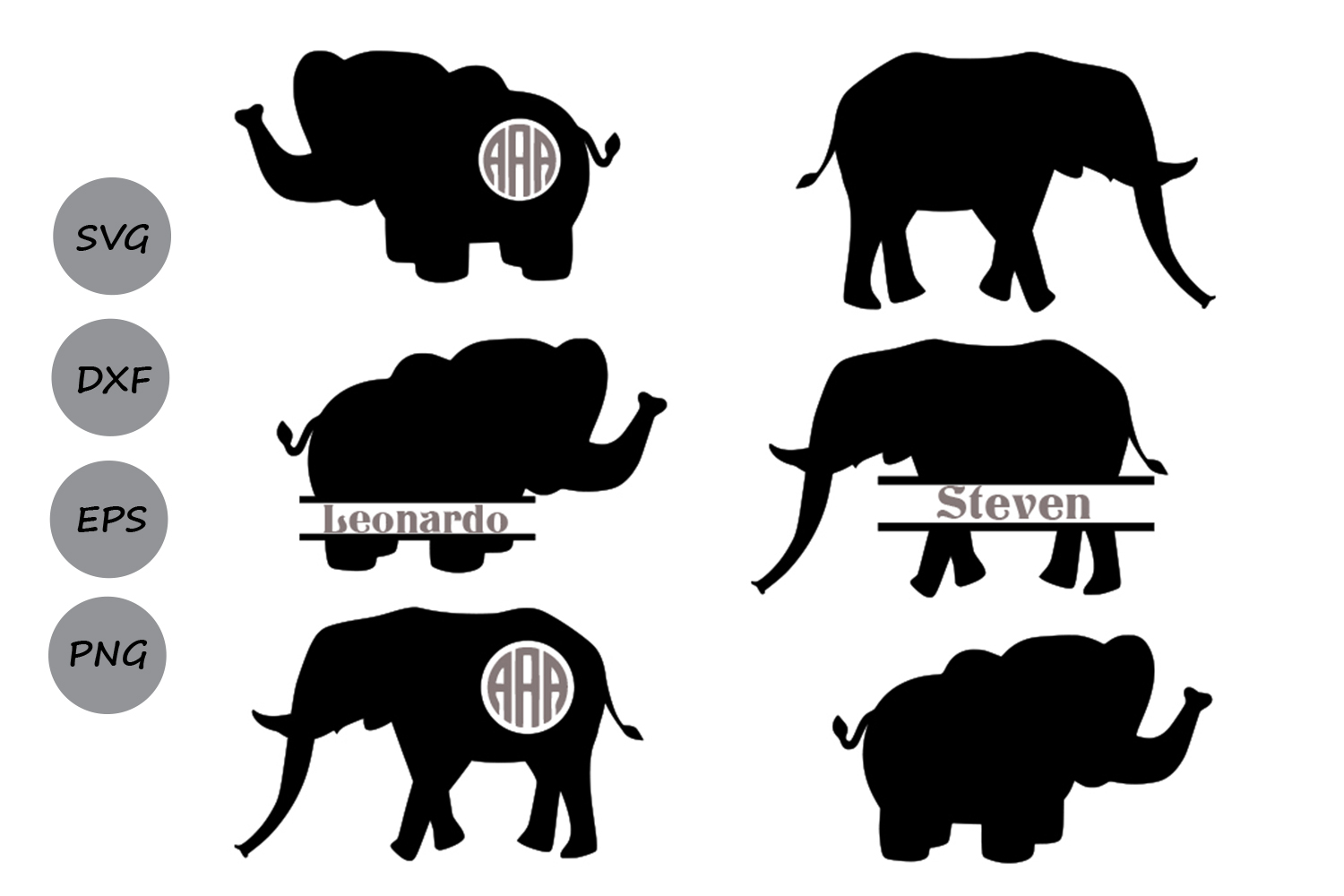 Download Free Elephant Monogram Graphic By Cosmosfineart Creative Fabrica for Cricut Explore, Silhouette and other cutting machines.