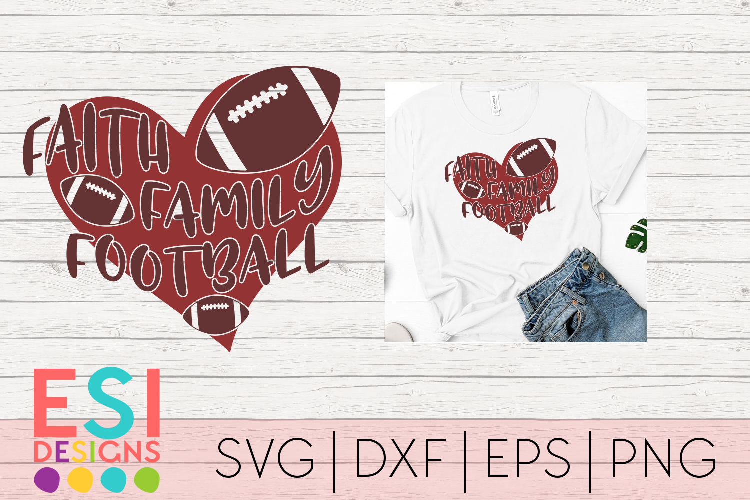 Download Free Faith Family Football Svg Graphic By Esi Designs Creative Fabrica for Cricut Explore, Silhouette and other cutting machines.