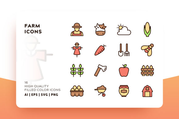 Print on Demand: Farm Filled Color Icon Pack Grafik Icons von Goodware.Std