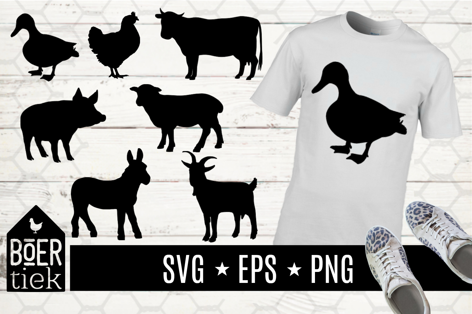 Download Free Farm Animals Graphic By Boertiek Creative Fabrica for Cricut Explore, Silhouette and other cutting machines.