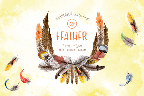 Print on Demand: Feather Watercolor Png Grafik Illustrationen von MyStocks