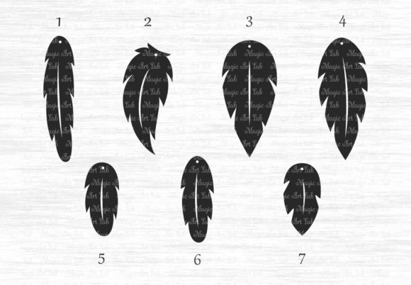 Download Free Feather Earrings Graphic By Magicartlab Creative Fabrica for Cricut Explore, Silhouette and other cutting machines.