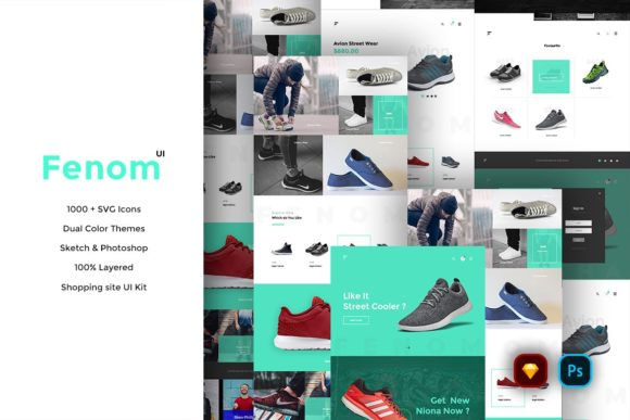 Print on Demand: Fenom Shopping Website UI Kit Graphic UX and UI Kits By Webhance