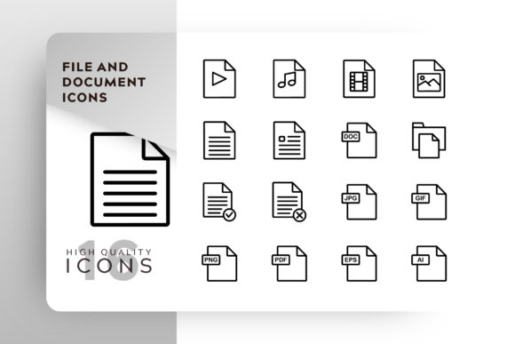 Print on Demand: File and Document Icon Pack Graphic Icons By Goodware.Std - Image 1
