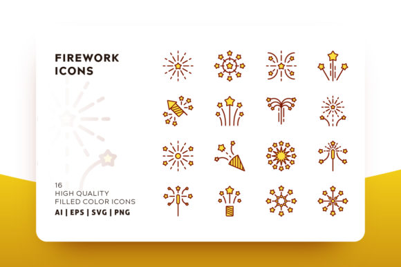Print on Demand: Firework Filled Icon Pack Graphic Icons By Goodware.Std