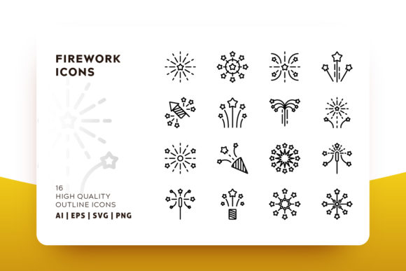 Firework Outline Icon Pack Graphic By Goodware.Std