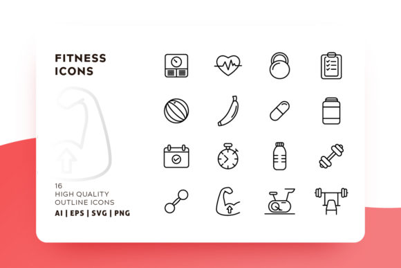 Print on Demand: Fitness Outline Icon Pack Graphic Icons By Goodware.Std