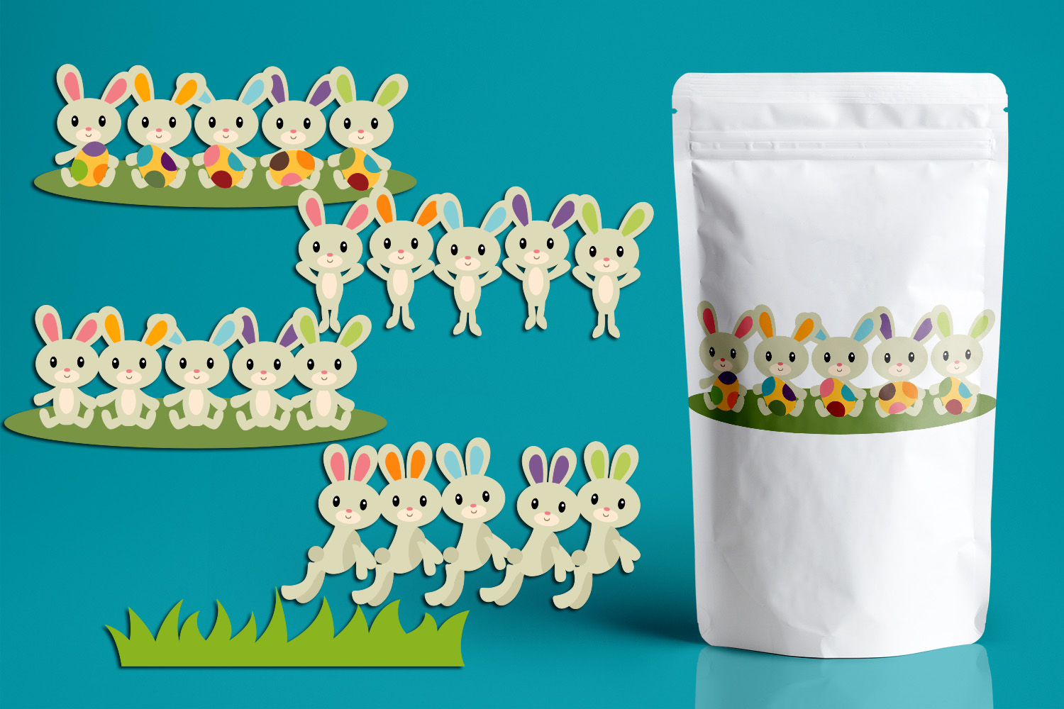 Download Free Five Easter Bunnies Graphic By Revidevi Creative Fabrica for Cricut Explore, Silhouette and other cutting machines.