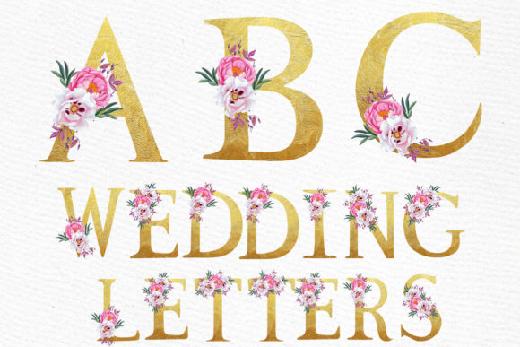 Floral Gold Alphabet Clipart Graphic Illustrations By LeCoqDesign