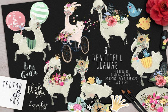 Floral Llamas Graphic By Anna Babich Image 2