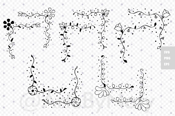 Print on Demand: Floral Romantic Corners Graphic Illustrations By artsbynaty - Image 2