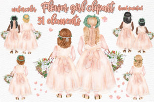 Print on Demand: Flower Girl Clipart Wedding Clipart Graphic Illustrations By LeCoqDesign