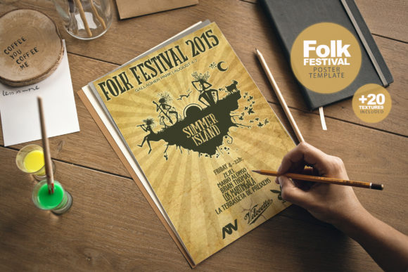 Folk Festival Poster + Extras Graphic Print Templates By SmartDesigns