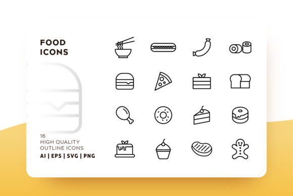Download Free Food Outline Icon Pack Graphic By Goodware Std Creative Fabrica for Cricut Explore, Silhouette and other cutting machines.