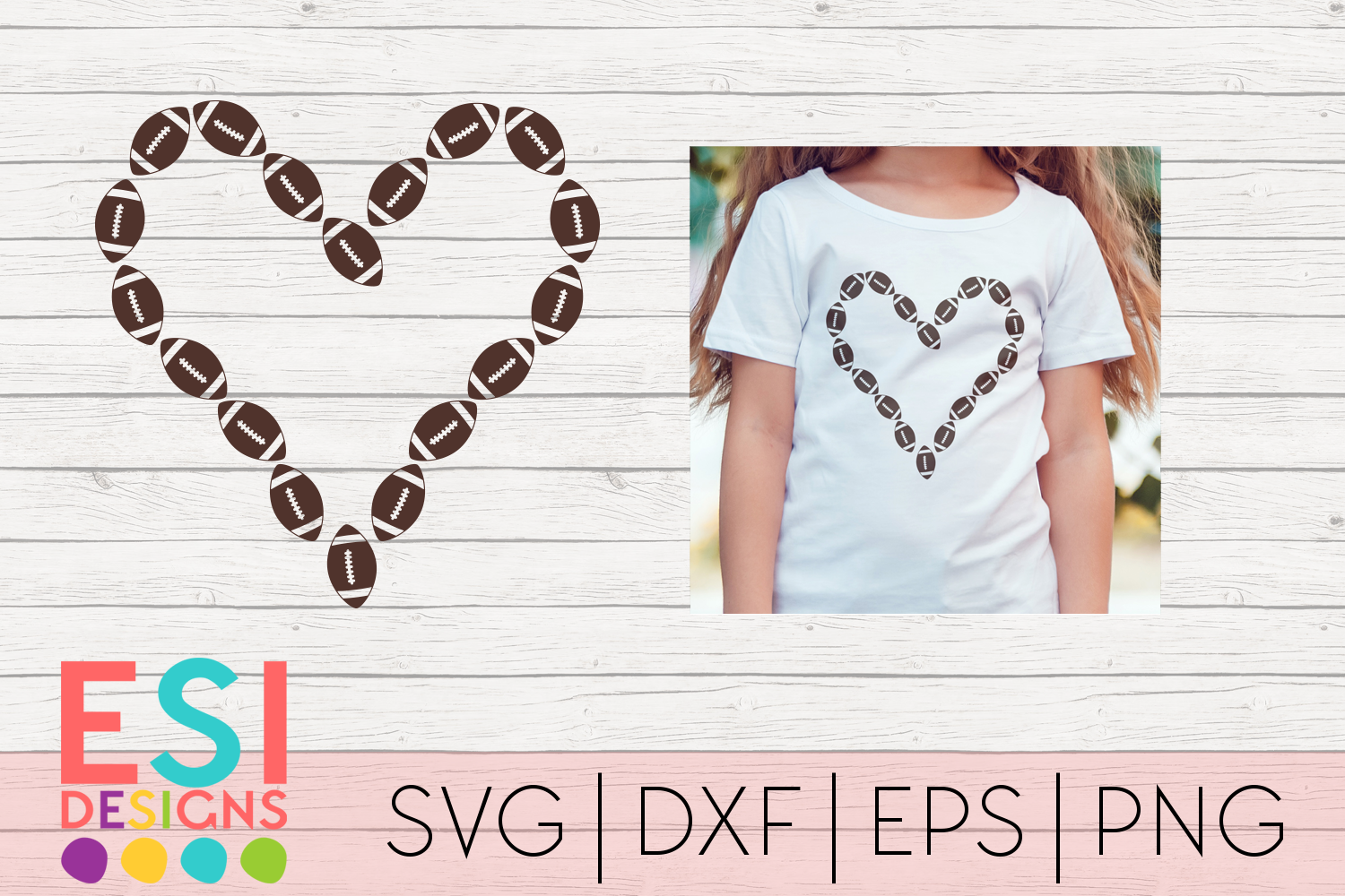 Download Free Football Heart Design Graphic By Esi Designs Creative Fabrica for Cricut Explore, Silhouette and other cutting machines.