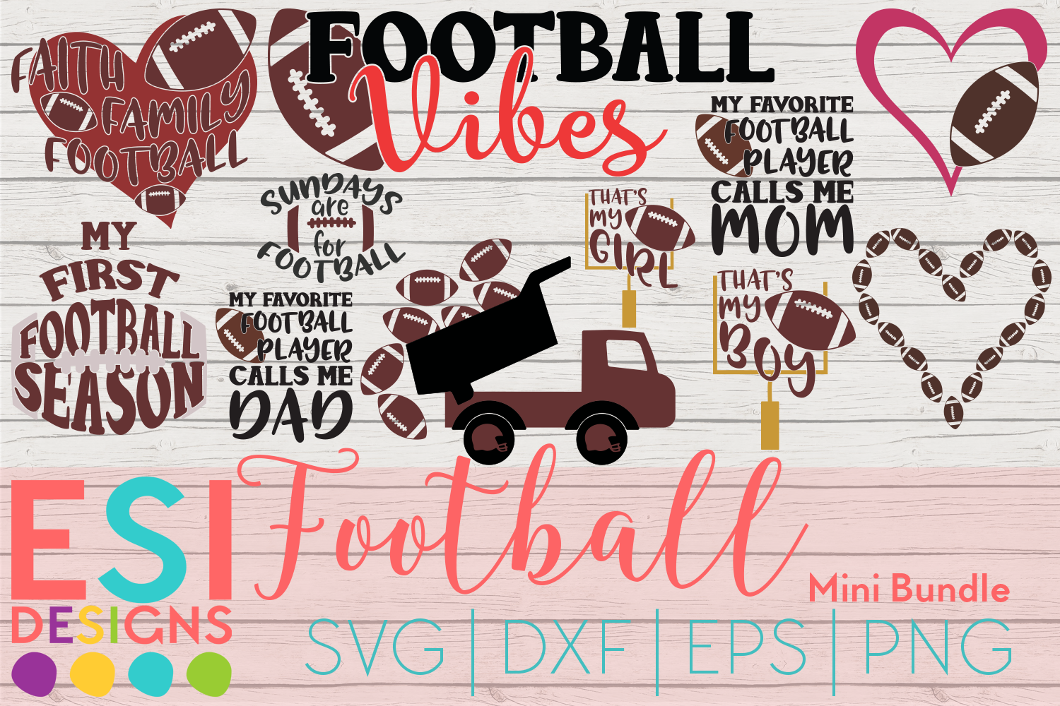 Download Free Football Mini Bundle Graphic By Esi Designs Creative Fabrica for Cricut Explore, Silhouette and other cutting machines.