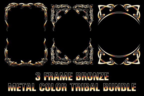 Frame Bronze Metal Color Tribal Graphic Illustrations By blackkido597