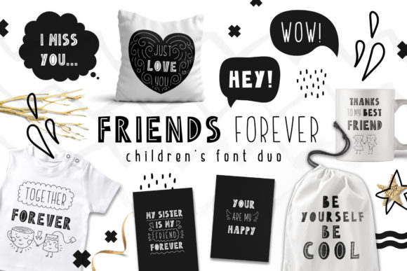 Print on Demand: Friends Forever Duo Script & Handwritten Font By Juliya Kochkanyan