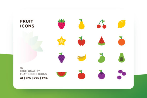 Print on Demand: Fruit Flat Icon Pack Graphic Icons By Goodware.Std
