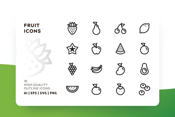 Print on Demand: Fruit Outline Icon Pack Graphic Icons By Goodware.Std