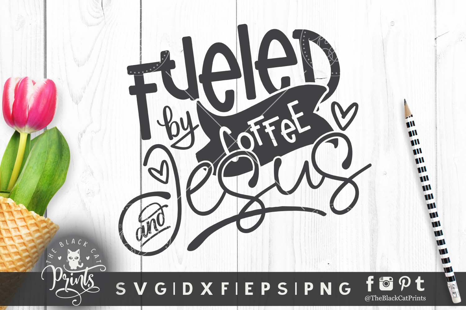 Download Free Fueled By Coffee And Jesus Svg Graphic By Theblackcatprints for Cricut Explore, Silhouette and other cutting machines.