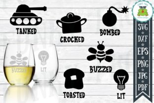 Download Free Funny Drink Labels Bundle Graphic By Funkyfrogcreativedesigns for Cricut Explore, Silhouette and other cutting machines.