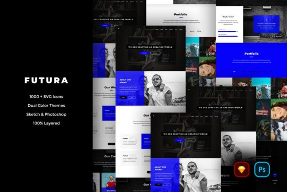 Print on Demand: Futura Creative Website UI Kit Graphic UX and UI Kits By Webhance