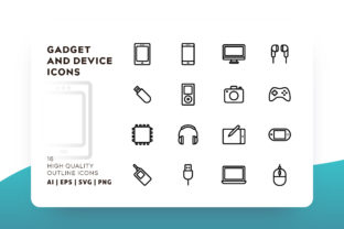 Gadget and Device Outline Icon Pack Graphic By Goodware.Std