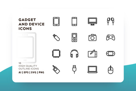 Print on Demand: Gadget and Device Outline Icon Pack Graphic Icons By Goodware.Std