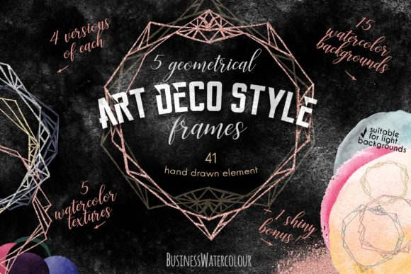 Geometry/Art Deco Style Frames Set Graphic Backgrounds By ramandu