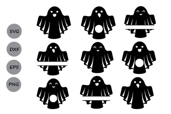 Download Free Ghost Monogram Svg Graphic By Cosmosfineart Creative Fabrica for Cricut Explore, Silhouette and other cutting machines.
