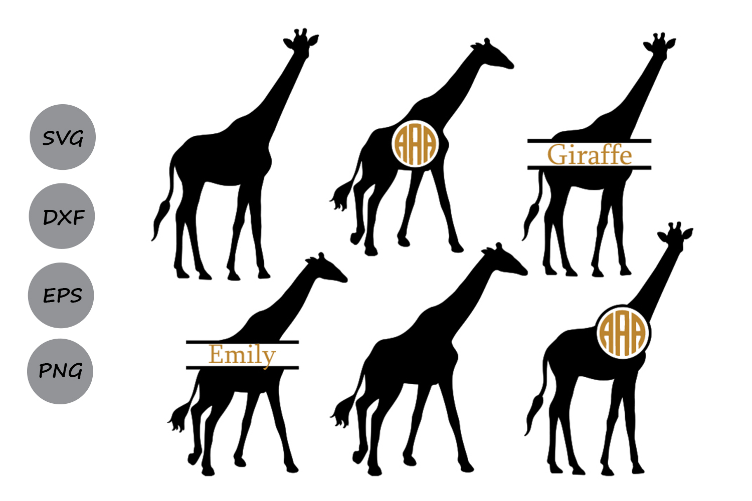 Download Free Giraffe Monogram Graphic By Cosmosfineart Creative Fabrica for Cricut Explore, Silhouette and other cutting machines.