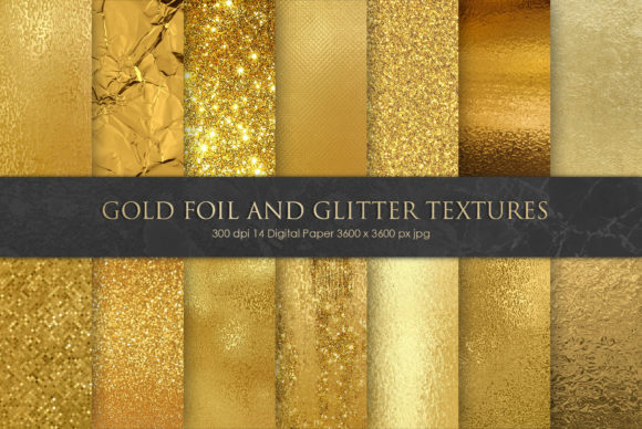 Print on Demand: Gold Foil and Glitter Textures Graphic Textures By Creative Paper - Image 1