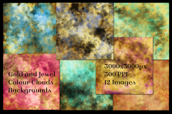 Print on Demand: Gold and Jewel Color Clouds Backgrounds Graphic Backgrounds By SapphireXDesigns - Image 2