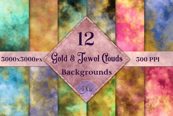 Print on Demand: Gold and Jewel Color Clouds Backgrounds Graphic Backgrounds By SapphireXDesigns - Image 1