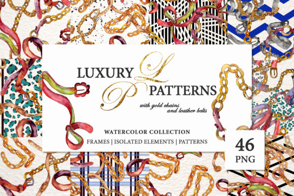 Gold Chains And Leather Belts Watercolor Png Graphic By Mystocks