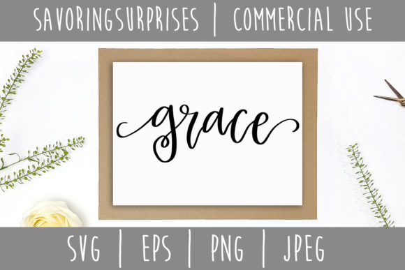 Download Free Grace Hand Lettered Svg Graphic By Savoringsurprises Creative for Cricut Explore, Silhouette and other cutting machines.