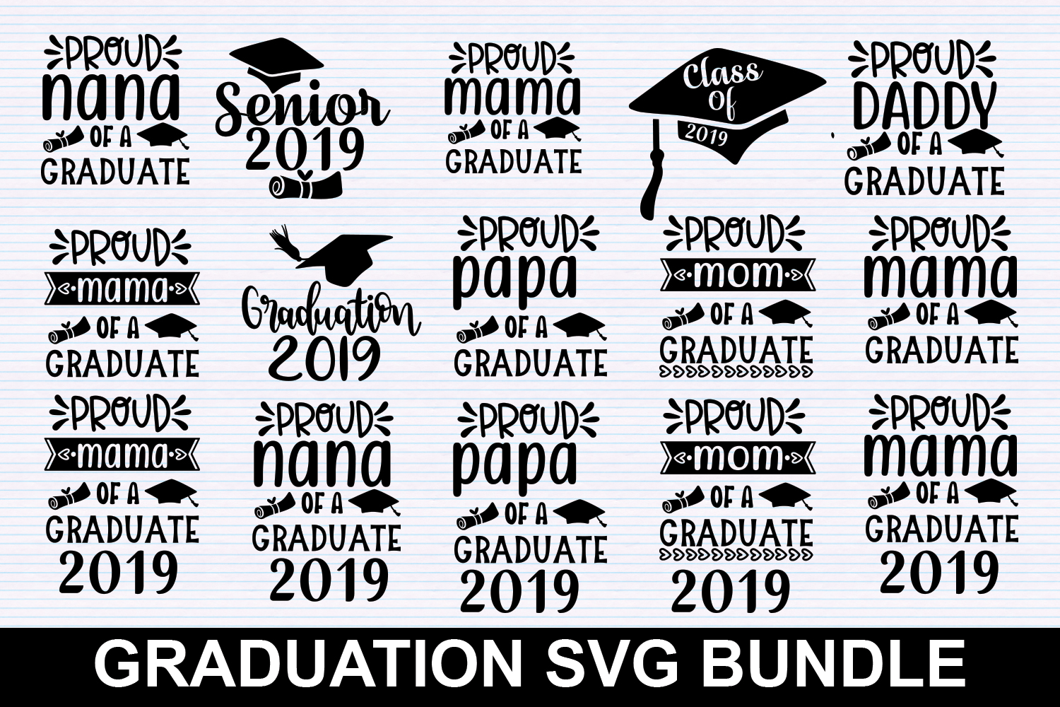 Download Free Graduation Family Bundle Graphic By Svgbundle Net Creative Fabrica for Cricut Explore, Silhouette and other cutting machines.
