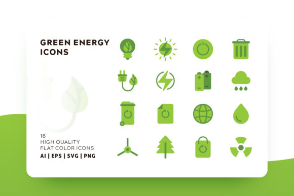 Print on Demand: Green Energy Icon Pack Graphic Icons By Goodware.Std