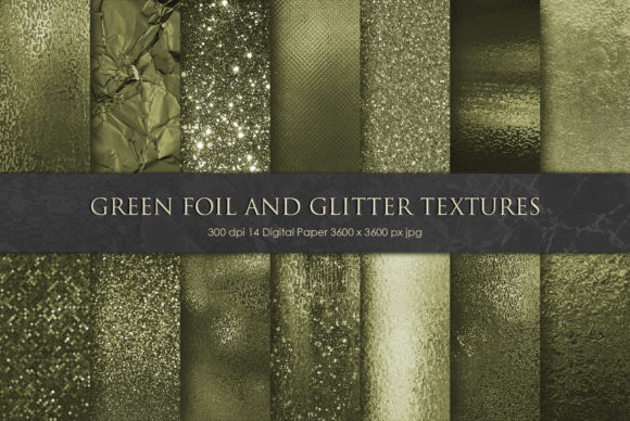 Print on Demand: Green Foil and Glitter Textures Graphic Textures By Creative Paper