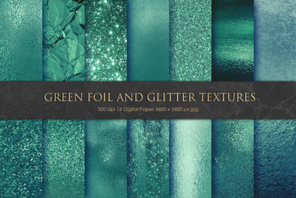 Green Foil and Glitter Textures Graphic Backgrounds By Creative Paper